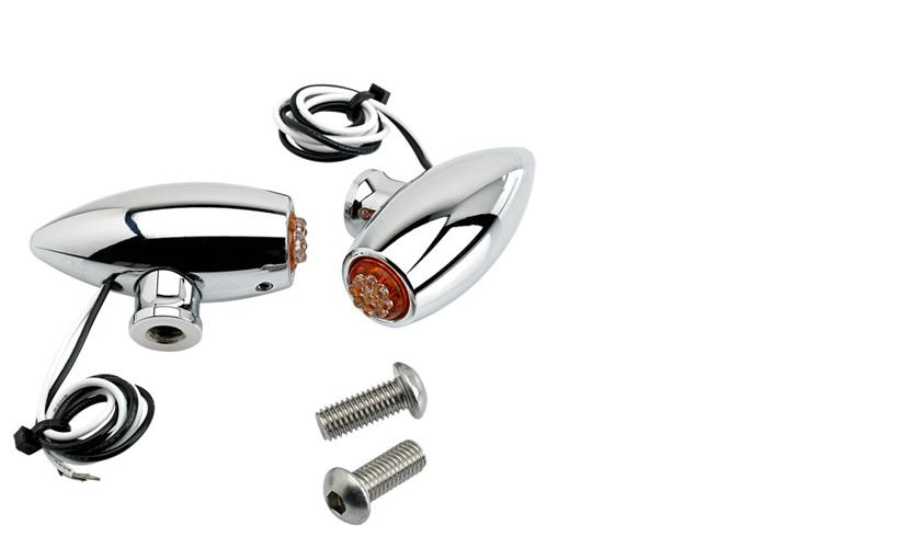 Joker Machine Chrome Astro Side Rail Turn Signals - Amber LED's