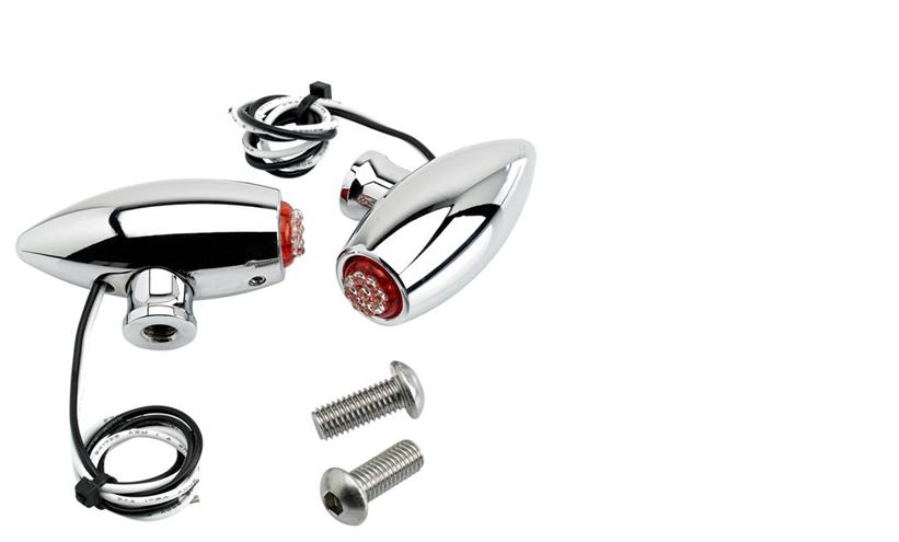 Joker Machine Chrome Astro Side Rail Turn Signals - Red LED's