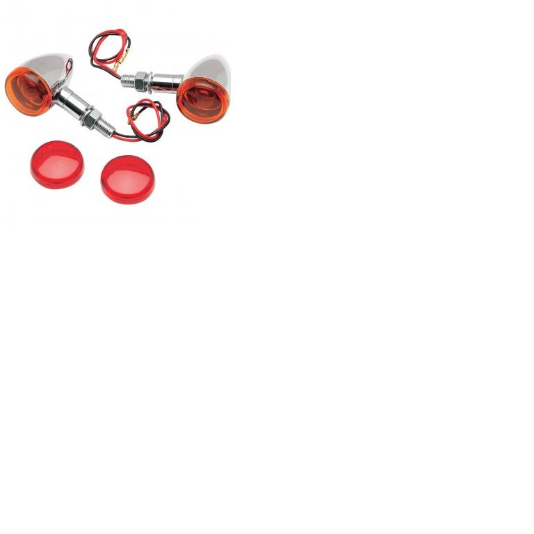 Drag Specialties Mini Deuce Marker Lights with Stud Mount - Chrome Housing & Amber and Red Lenses