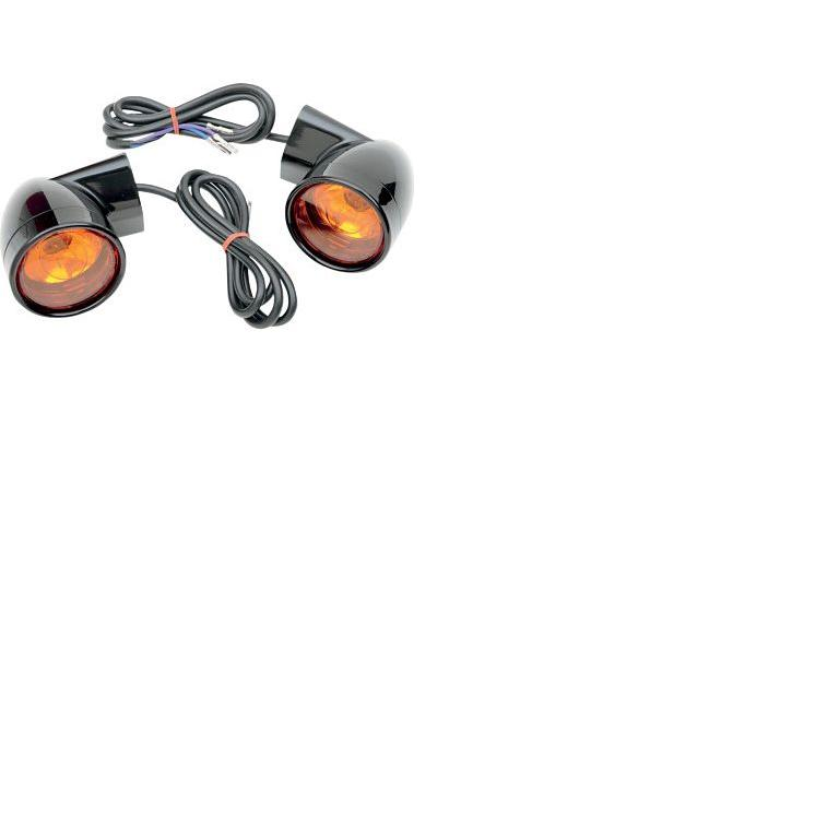 Drag Specialties Bullet Style Front Turn Signals for HD Touring Models 1994 - UP - Black