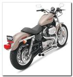 Bassani Pro-Street Exhaust Slash Cut Chrome - Sportster (2007 - 2013) with Mid Controls