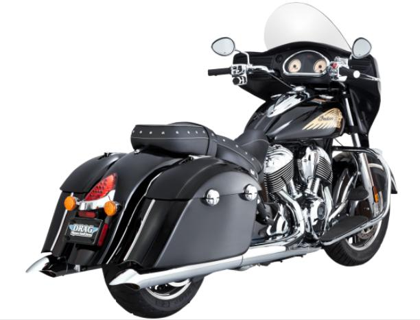 Vance and Hines Turndown Slip On Mufflers for Indian Chieftan 2014 - 2016 - Chrome