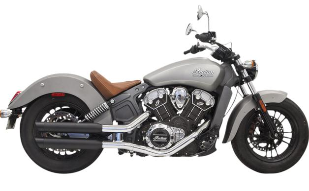 Bassani Classic 3 Inch Slip on Mufflers for Indian Scout 2015 - Up - Black