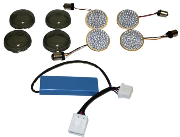 Custom Dynamics Complete LED Turn Signal Coversions for 1996 - 2010 Softails, 2002 - 2011 Dyna ,1997 - 2013 FLHT/FLHR/FLTR/FLTRU with Bullet Signals