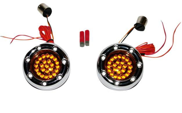 Custom Dynamics Bullet Ringz LED Chrome Turn Signal Insert for Bullet Style Turn Signals - 1156 Base Rear - Red/Amber with Amber Lens