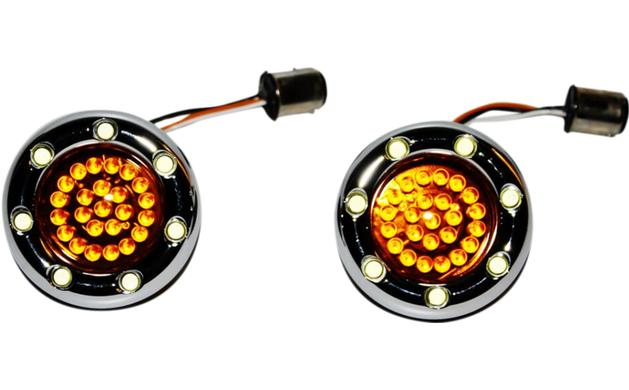 Custom Dynamics Bullet Ringz LED Chrome Turn Signal Insert for Bullet Style Turn Signals - 1157 Base Front - Amber / White with Amber Lens