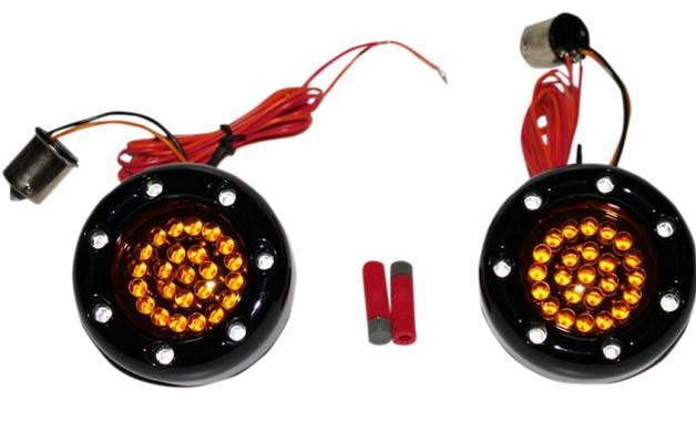 Custom Dynamics Bullet Ringz LED Black Turn Signal Insert for Bullet Style Turn Signals - 1156 Base Rear - Red/Amber with Amber Lens
