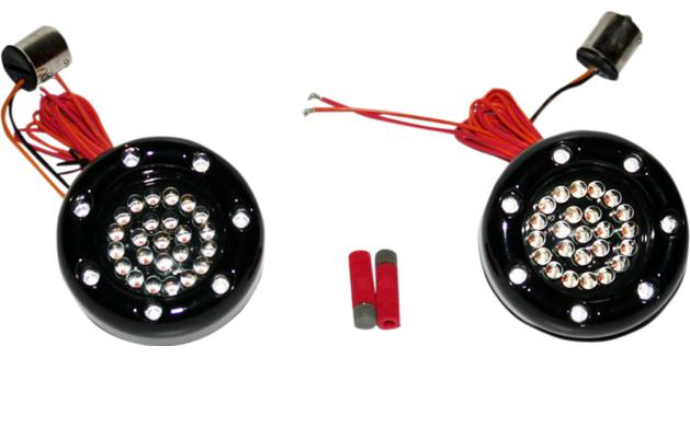Custom Dynamics Bullet Ringz LED Black Turn Signal Insert for Bullet Style Turn Signals - 1156 Base Rear - Red/Amber with Smoked Lens