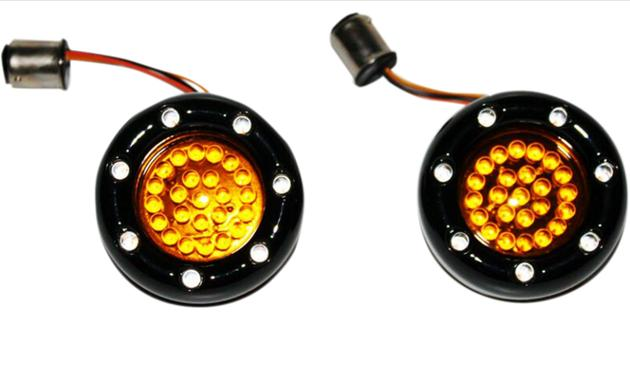 Custom Dynamics Bullet Ringz LED Black Turn Signal Insert for Bullet Style Turn Signals - 1157 Base Front - Amber / Amber with Amber Lens
