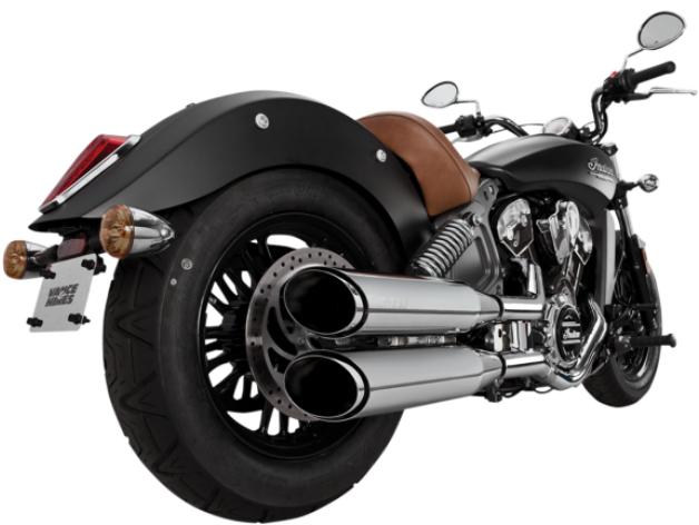 Vance and Hines Twin Slash 4 Inch Slip On Mufflers for Indian Scout - Chrome