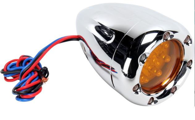 Arlen Ness Deep Cut Factory Style Turn Signals with Amber LED Fire Ring and Amber Lens for Front Use - Chrome