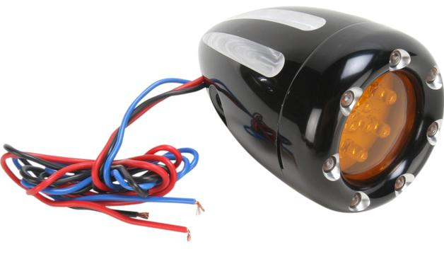 Arlen Ness Deep Cut Factory Style Turn Signals with White LED Fire Ring and Amber Lens for Front Use - Black