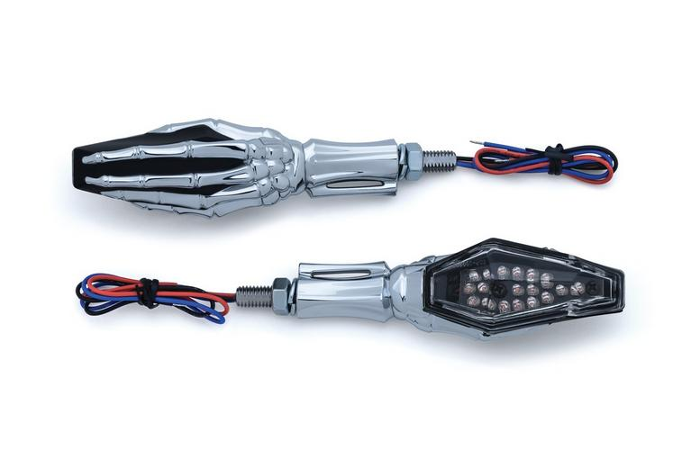 Kuryakyn Skeleton Hand Turn Signals - Chrome Stem & Black Heads