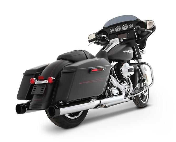Rinehart 4 Inch Slip On Mufflers for 2017 - Up HD Touring Models - Chrome with Black end caps