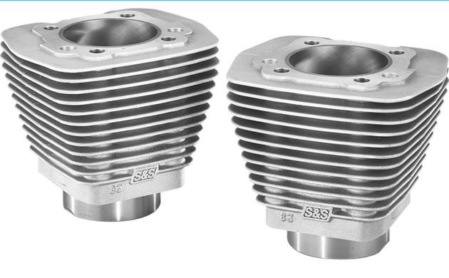 S&S Evolution Style Cylinders for Evolution Engines 1984 - 1999 - Stock Bore Natural Finish