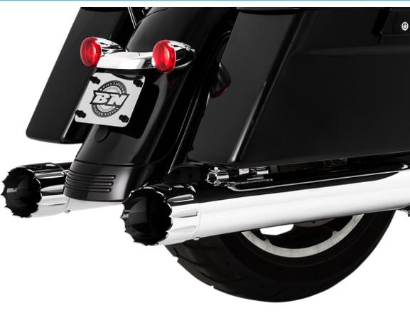 Paul Yaffee Bagger Nation Cult 45 4 Inch Slip On Muffers for 2017 - UP HD Touring Models - Yaffee Burner Tips Chrome