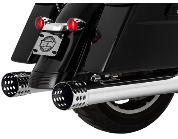 Paul Yaffee Bagger Nation Cult 45 4 Inch Slip On Muffers for 2017 - Up HD Touring Models - Holy Moly Tips Chrome