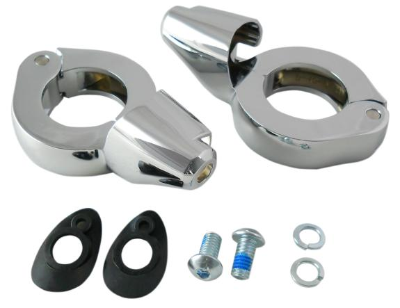 Drag Specialties Turn Signal Fork Clamps - 49 mm - Chrome