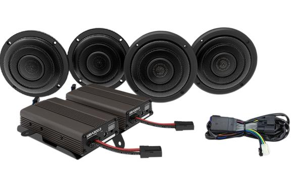 Wild Boar Front and Rear Speaker Kit with 600 Watt Amp for For 2014 - UP FLH Models