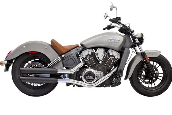 Bassani 3 Inch Slip On Mufflers for 2015 - UP Scout, Scout Bobber and Scout 60 - Black