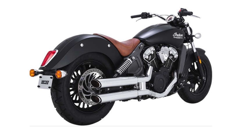 Vance and Hines Twin Slash 3 Inch Slip on Mufflers for Scout and Scout Bobber - Chrome