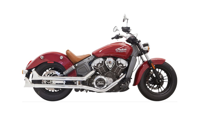 Bassani 2 1/4 Inch Chrome Mufflers with Fishtail End Caps for 2015 - 2019 Indian Scout and Scout Bobber