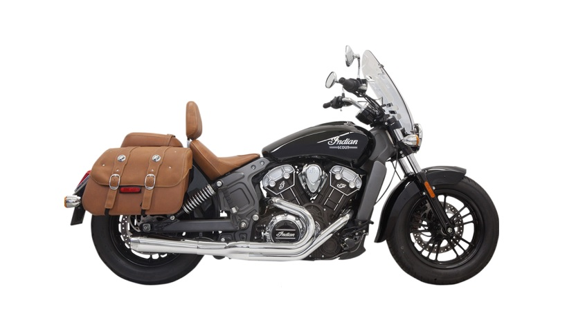 Bassani Road Rage 2 into 1 Exhaust System with Short Megaphone Muffler for 2015 - 2019 Indian Scout - Chrome