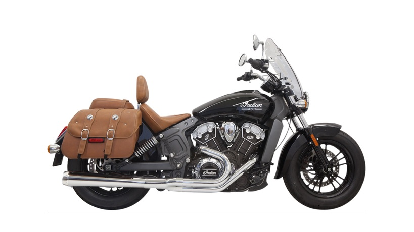 Bassani Road Rage 2 into 1 Exhaust System with Long Megaphone Muffler for 2015 - 2019 Indian Scout - Chrome