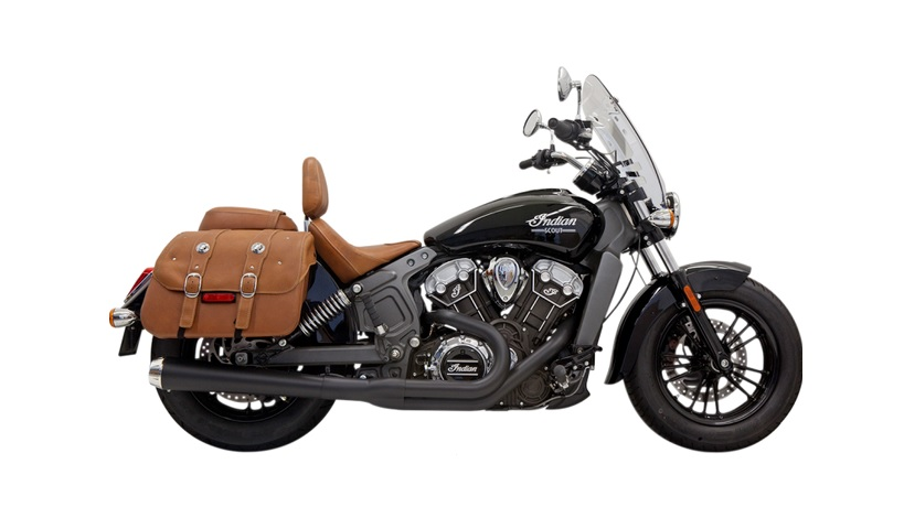 Bassani Road Rage 2 into 1 Exhaust System with Long Megaphone Muffler for 2015 - 2019 Indian Scout - Black