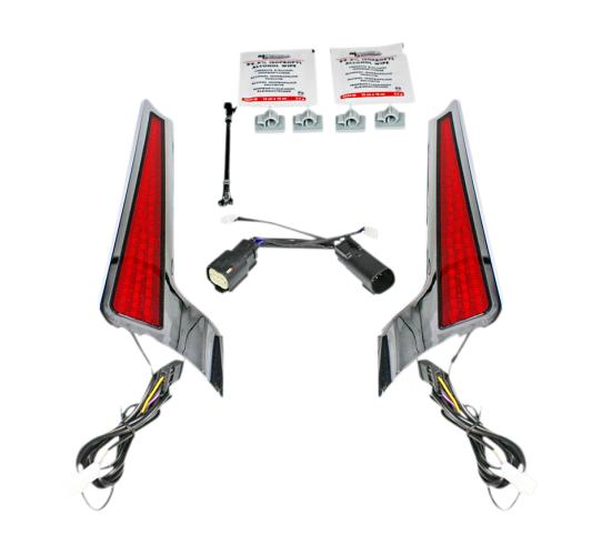 Custom Dynamics Facia LED Panel for 2014 - 2020 Road Glide and Street Glide - Chrome with Red Lenses