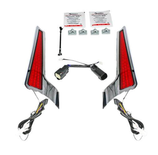 Custom Dynamics Facia LED Panel for 2010 - 2013 Road Glide and Street Glide - Chrome with Red Lenses