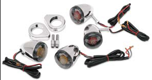 Drag Specialties Deuce Style LED Turn Signal Kit with Smoked Lenses