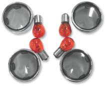 Smoke Turn Signal Lens Kit With Chrome Trim Rings